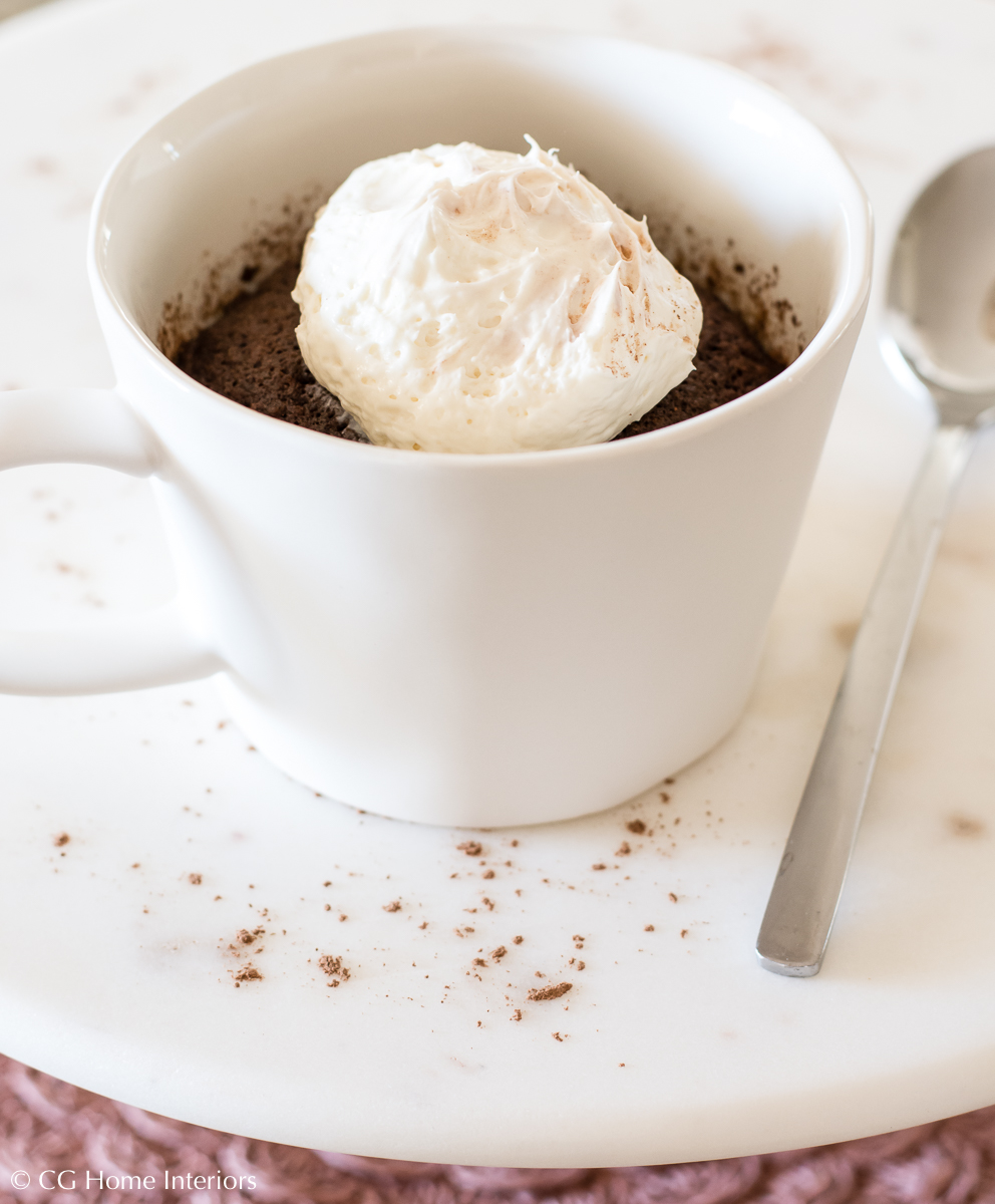 90-second Keto Thin Mint Mug Cake w/ Cheesecake Frosting