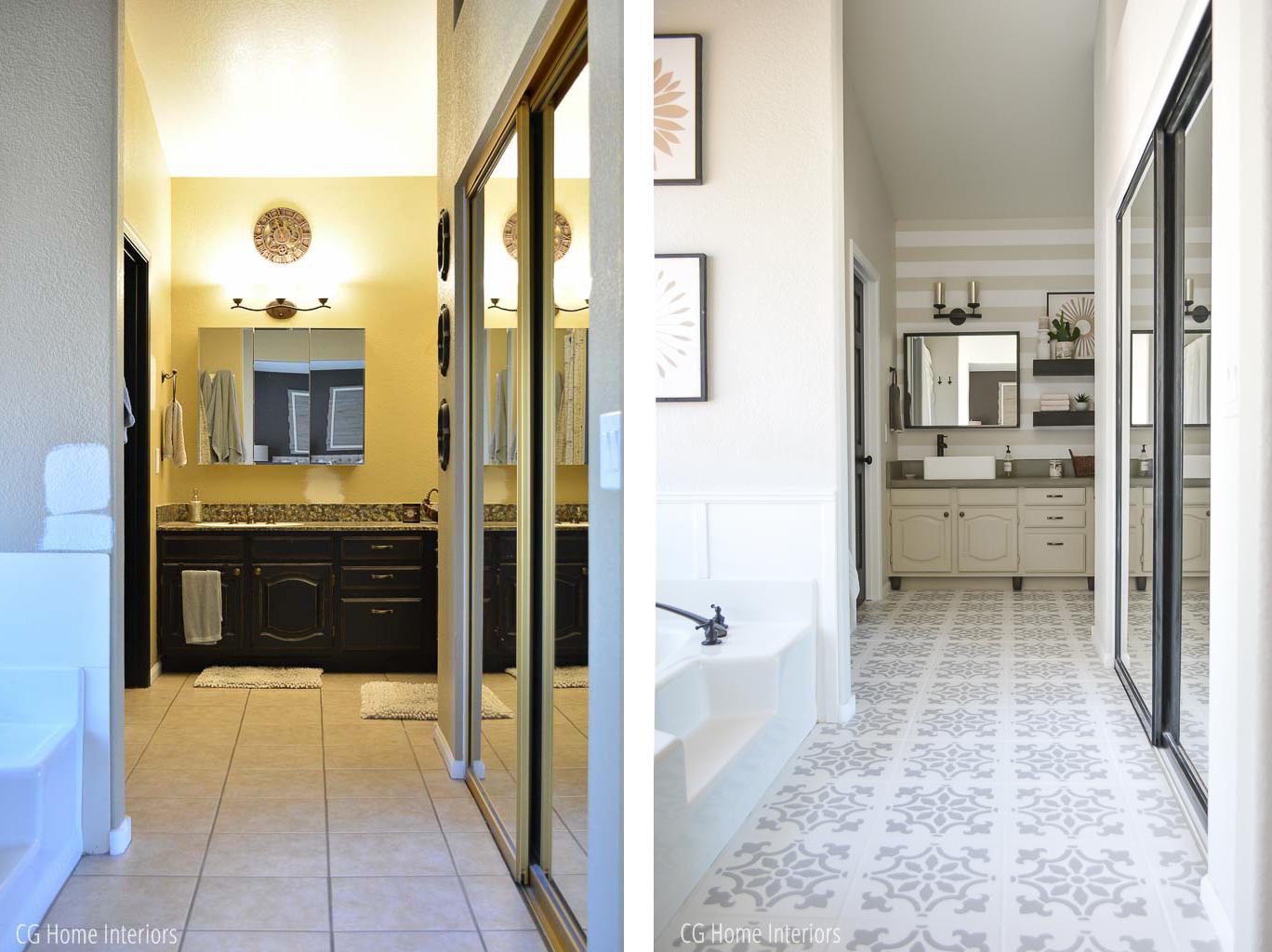 Builder Grade Bathroom Remodel Before and After