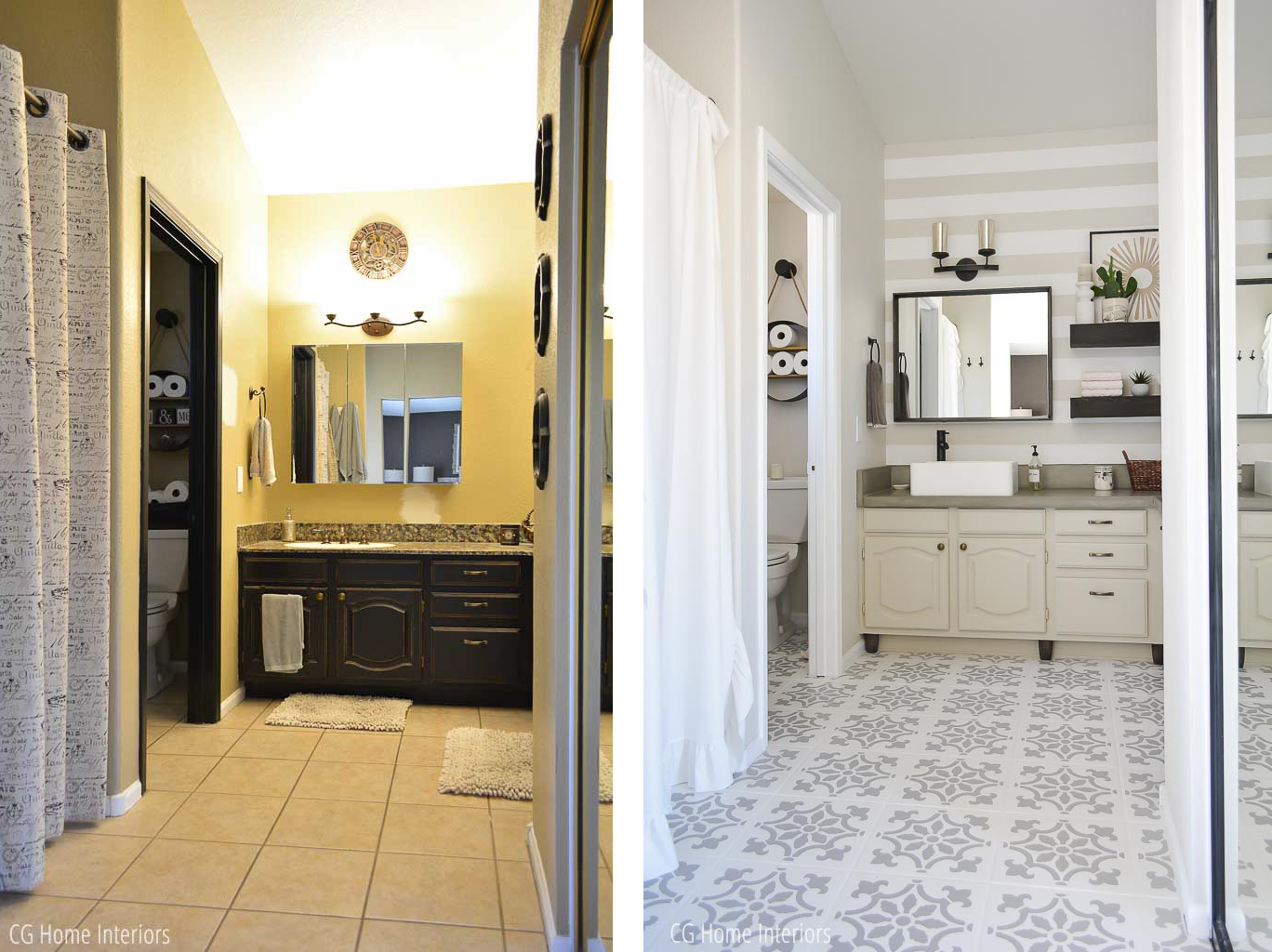Builder Grade Bathroom Remodel on a Budget Before and After