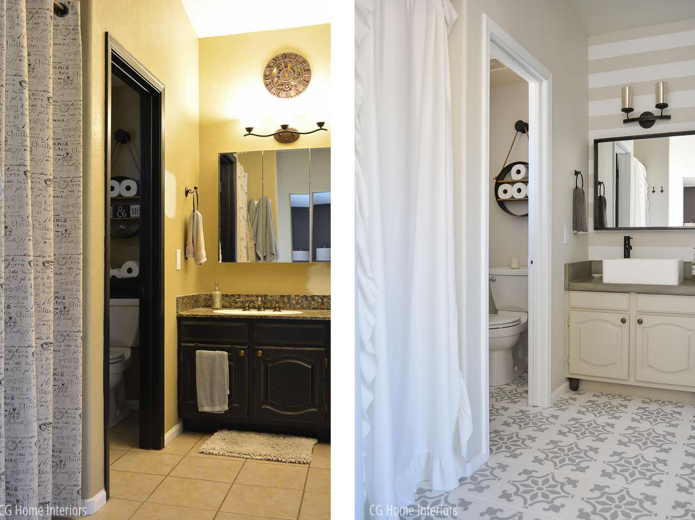 Builder Grade Bathroom Overhaul Before and After