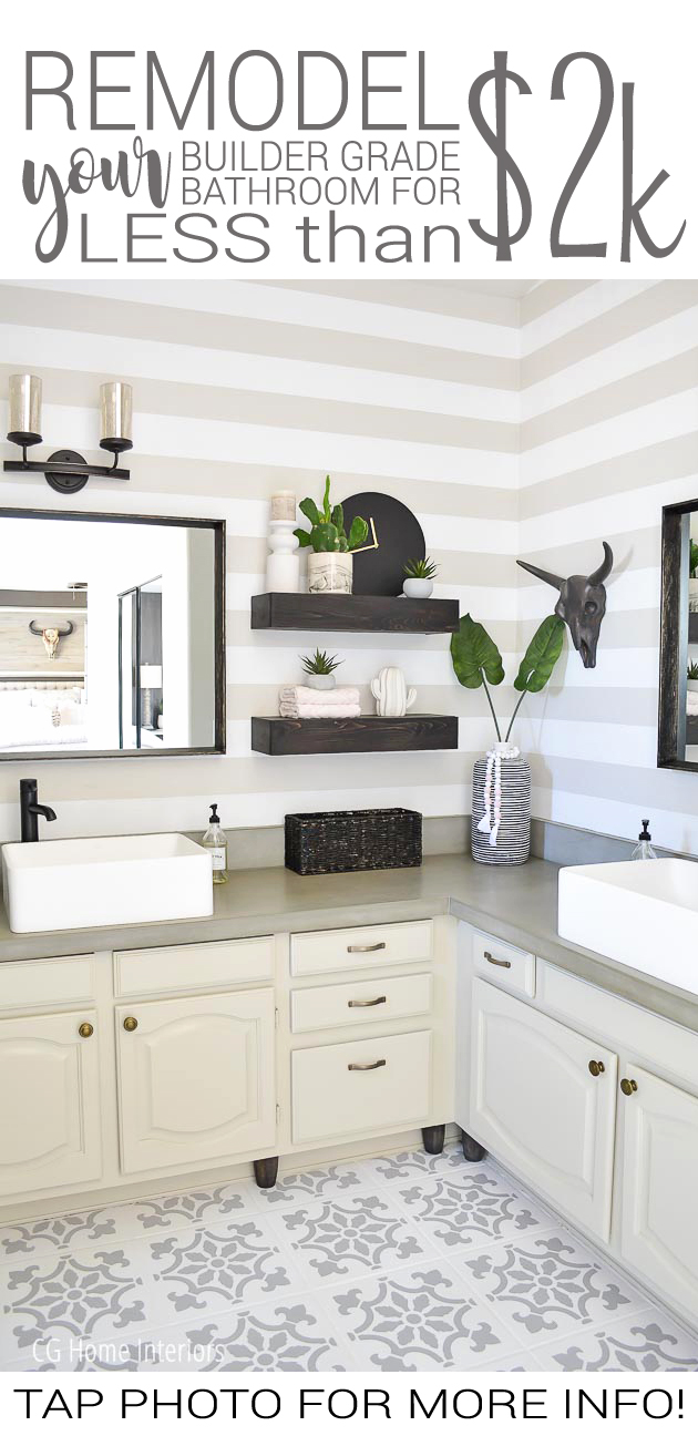 Builder Grade Bathroom Remodel on a Budget Before and After Pinterest Image