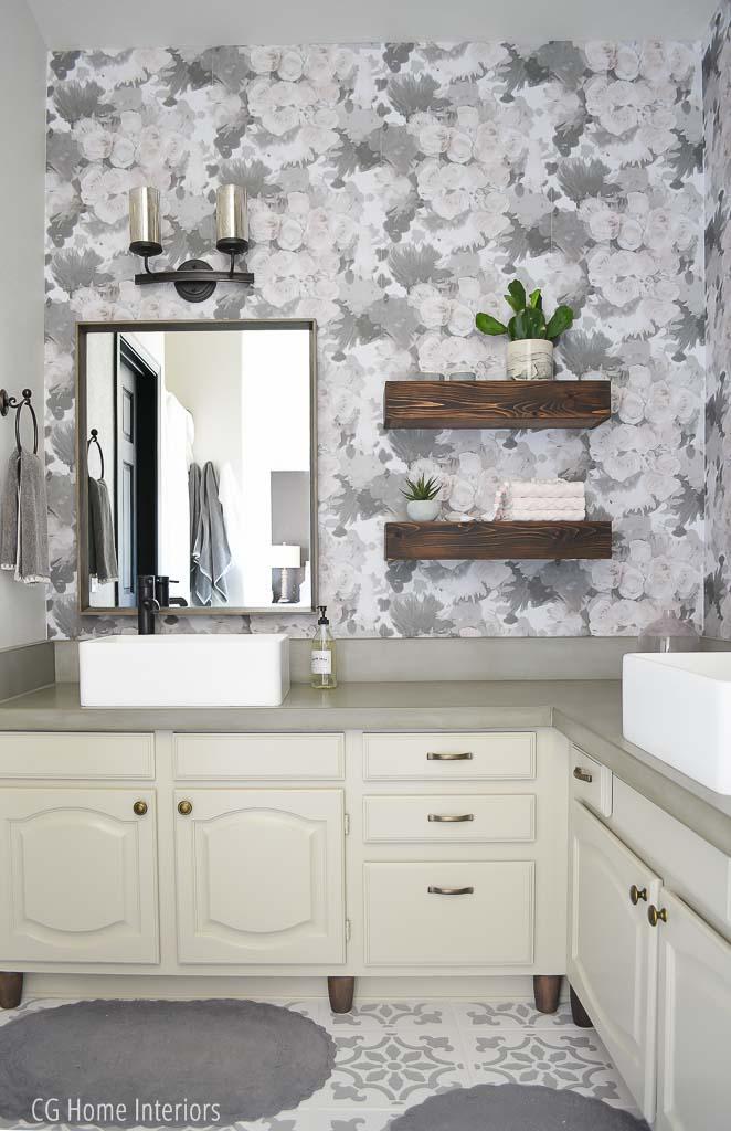 Builder Grade Bathroom Remodel Floral Peel and Stick Wallpaper