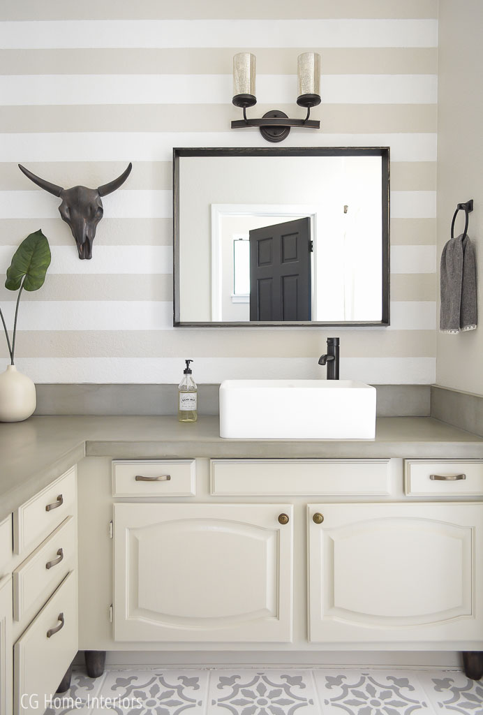 Builder Grade Bathroom Remodel with Painted Horizontal Stripes