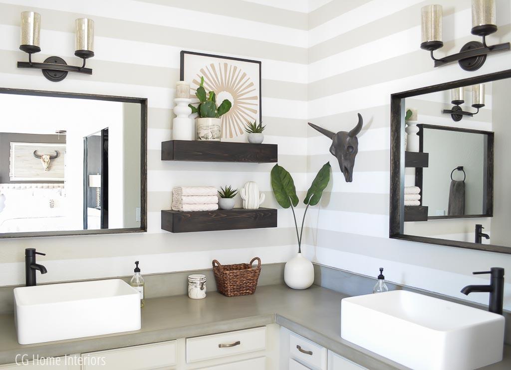 Builder grade master bath vanity update with concrete countertops