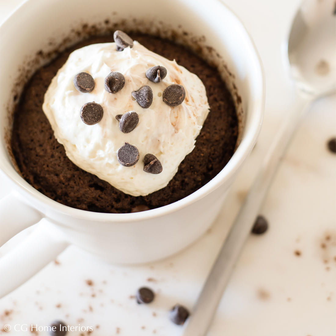 90-second Keto Thin Mint Mug Cake w/ Cheesecake Frosting