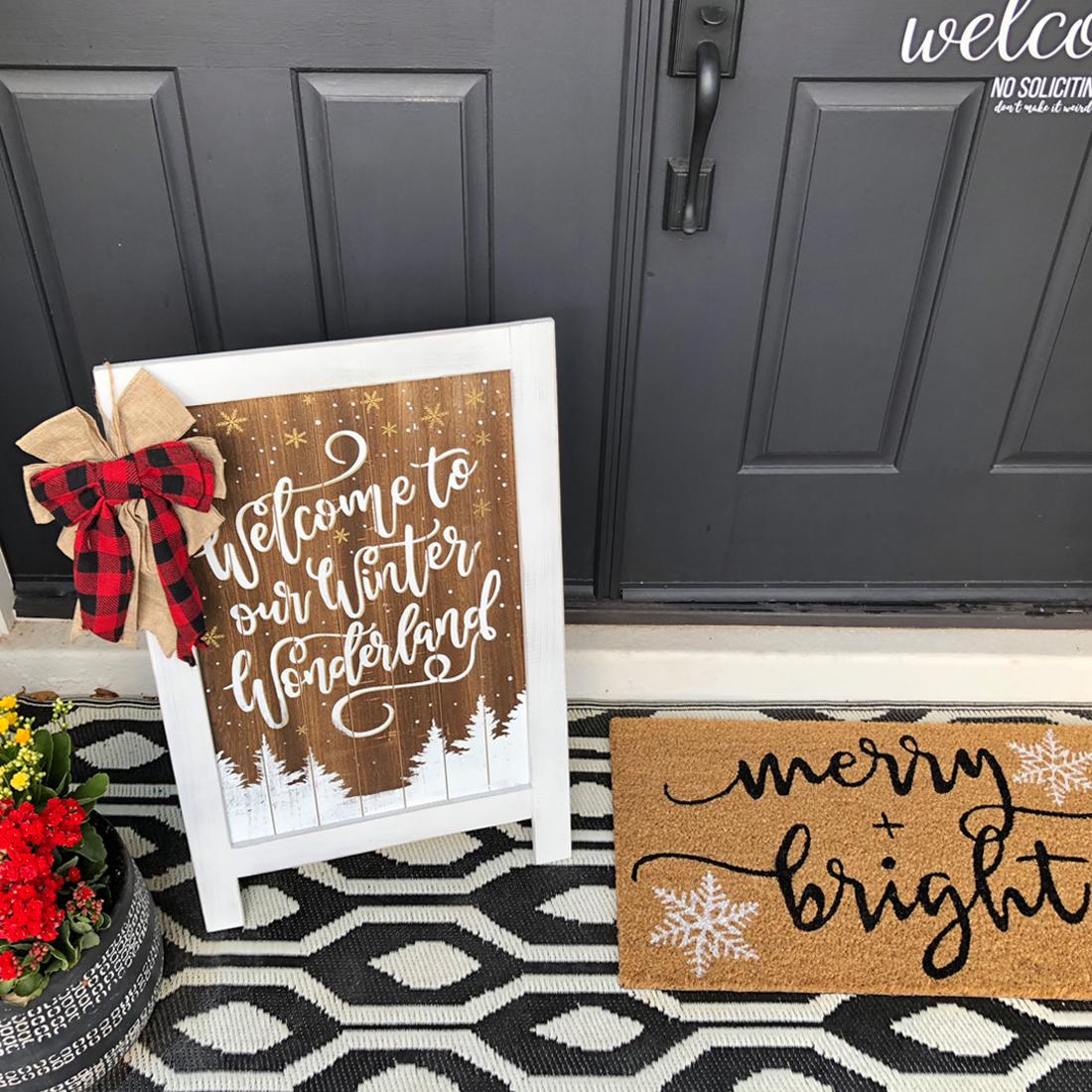 Simple + Neutral Front Porch Christmas Décor