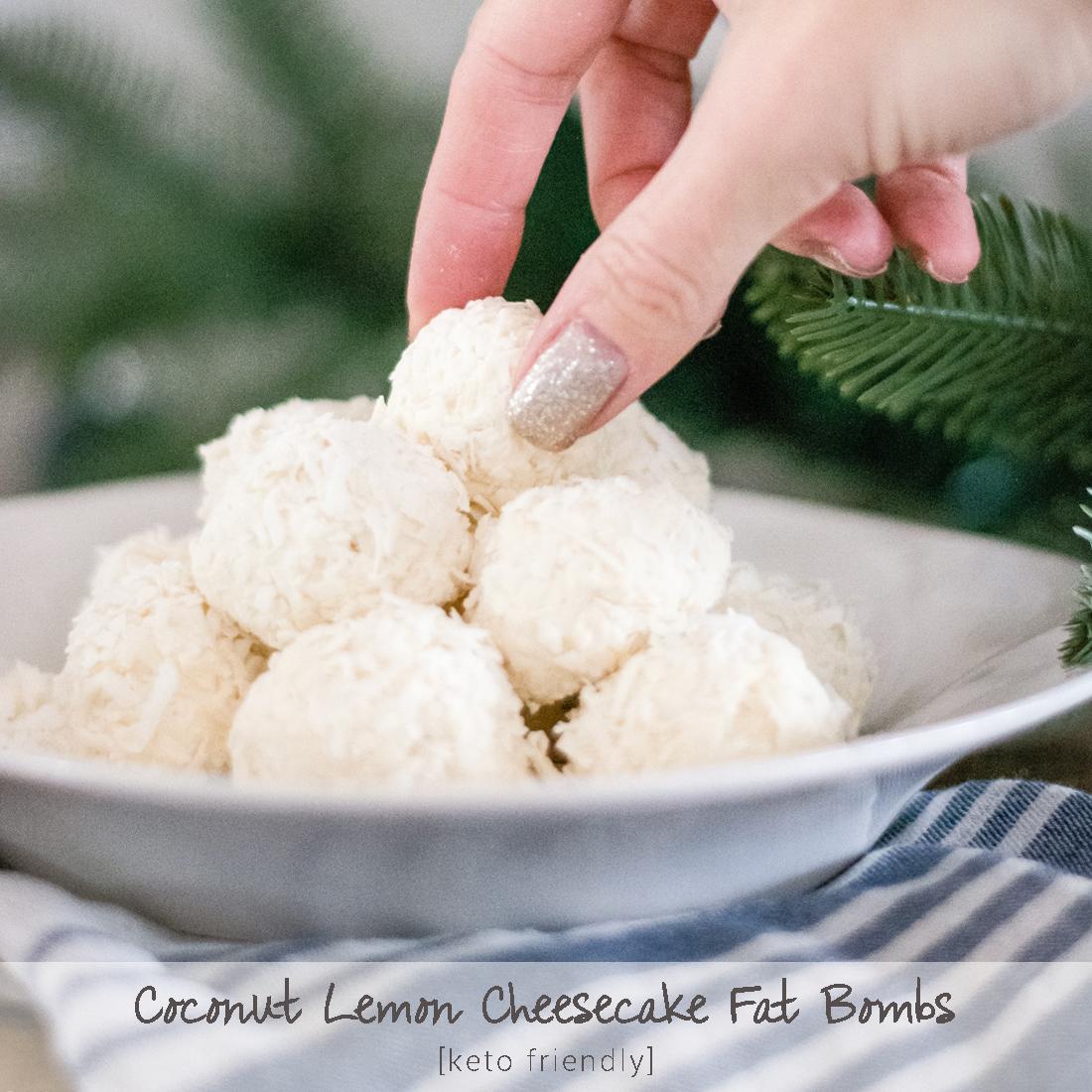 Sugar Free Low Carb Coconut Lemon Cheesecake Keto Fat Bombs